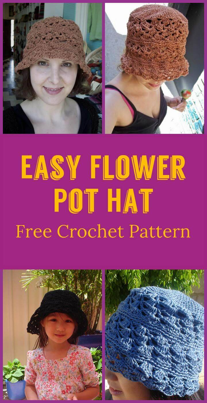 Easy Flower Pot Hat Free Crochet Pattern