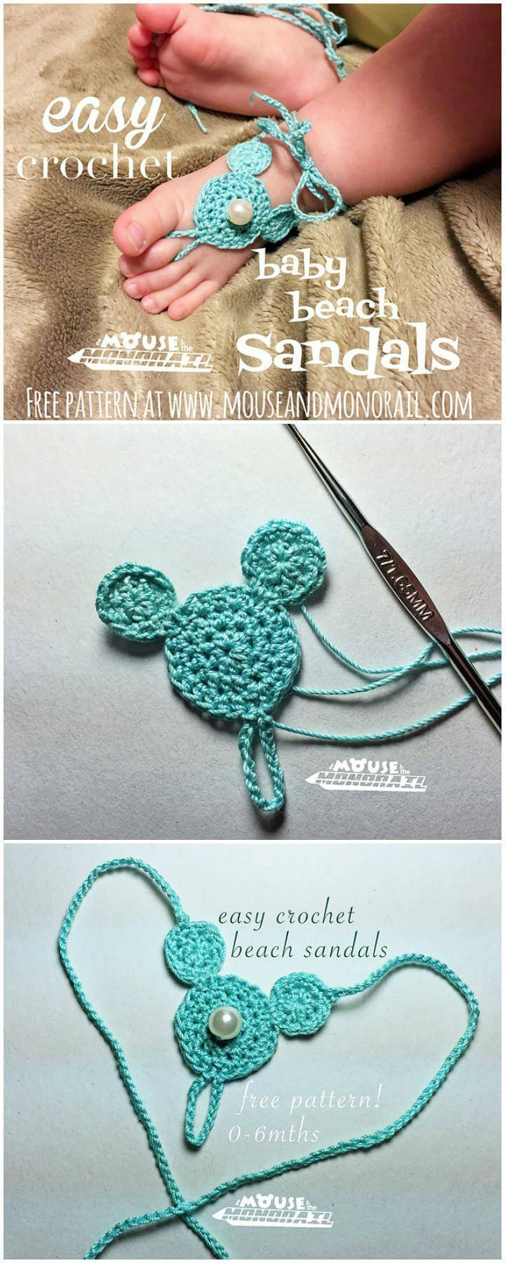 Easy Crochet Baby Beach Barefoot Sandals