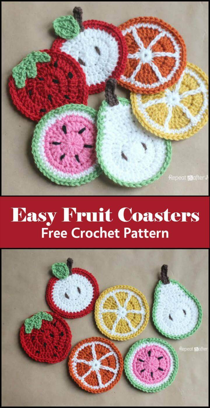 Easy Fruit Coasters Free Crochet Pattern