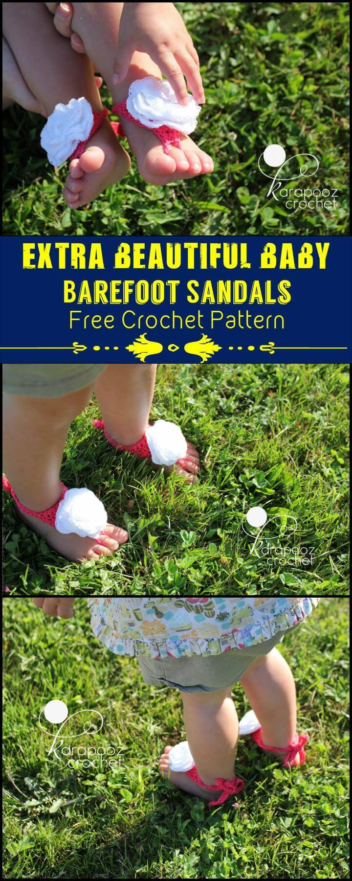 Extra Beautiful Baby Barefoot Sandals Free Crochet Pattern