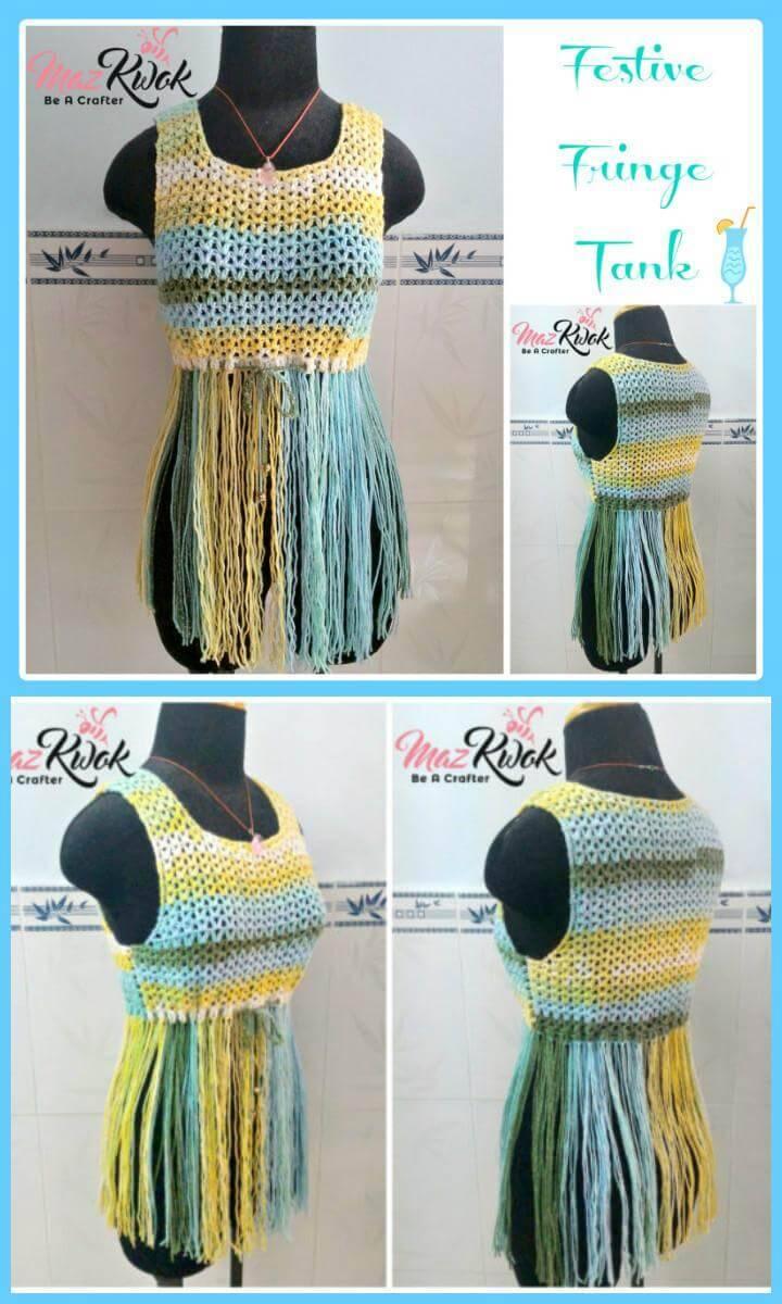Festive Fringe Tank Free Crochet Pattern