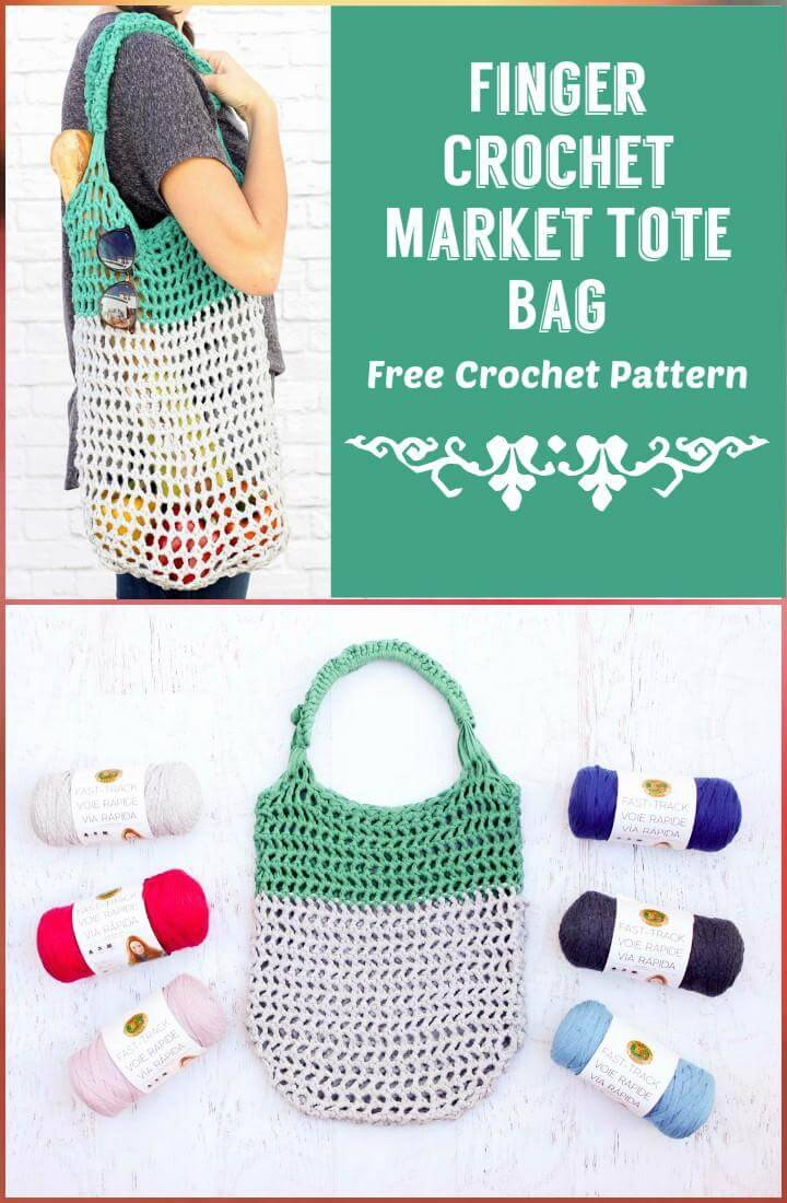 Finger Crochet Market Tote Bag Free Crochet Pattern
