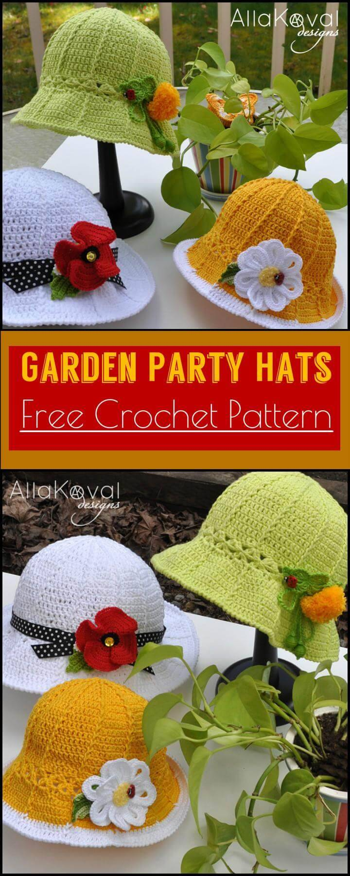 Garden Party Hats Free Crochet Pattern