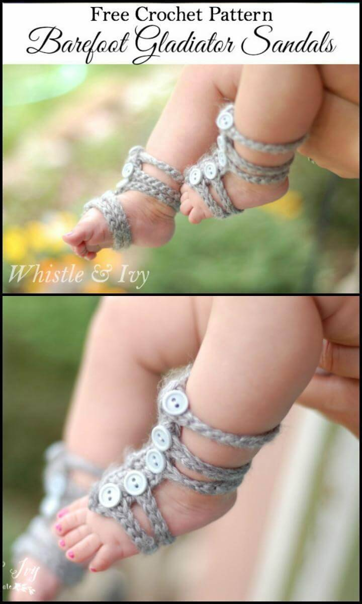 Gladiator Barefoot Baby Sandals Free Crochet Pattern