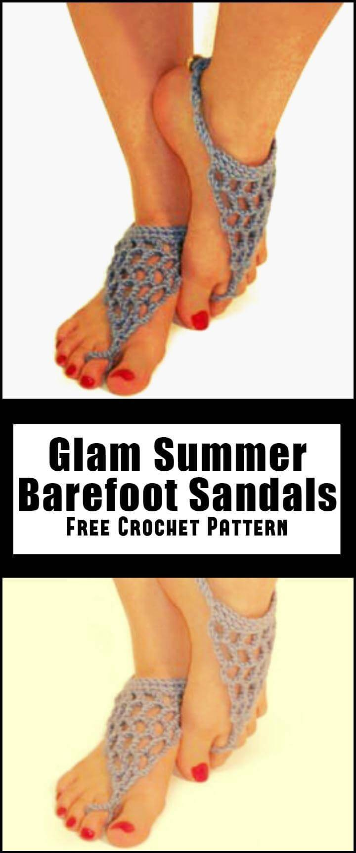 Glam Summer Barefoot Sandals Free Crochet Pattern