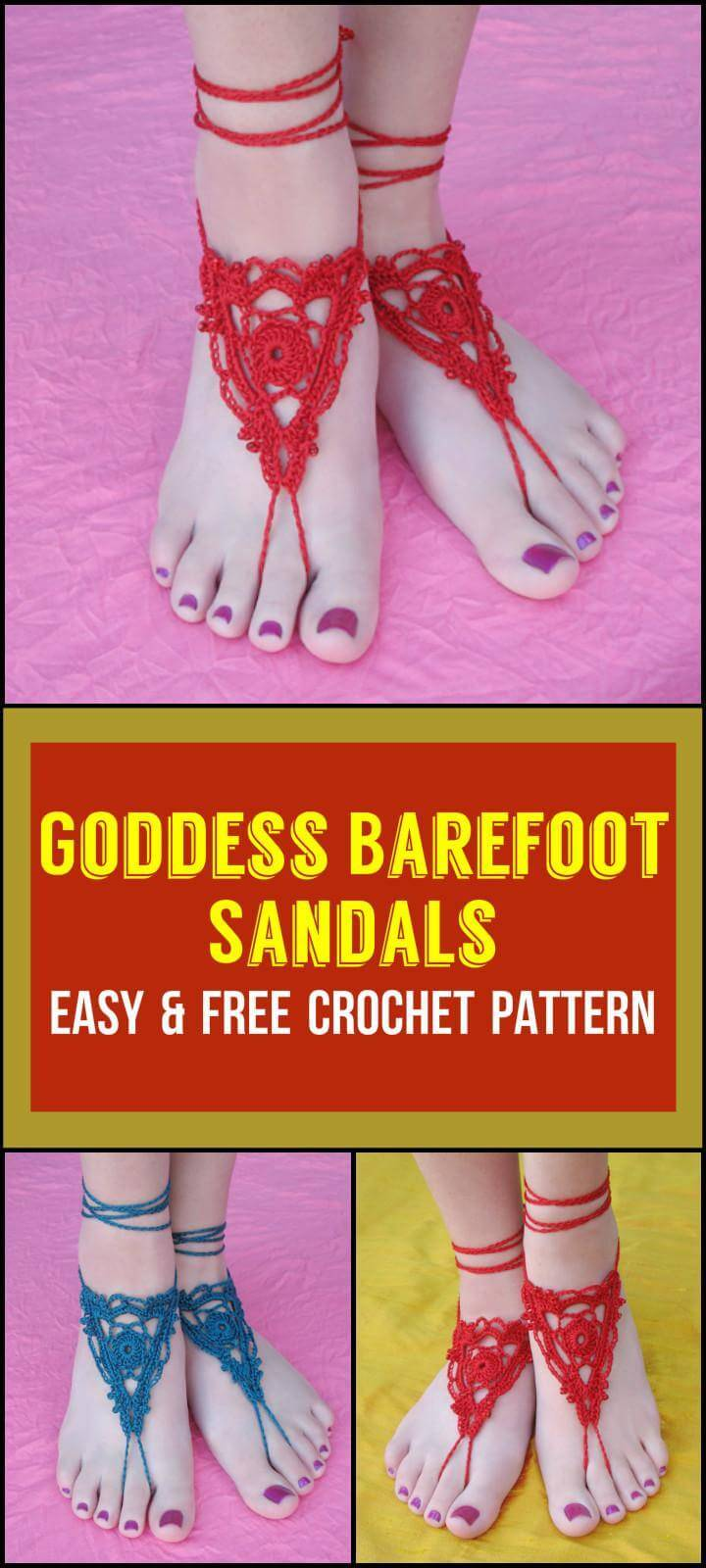 Goddess Barefoot Sandals Easy  Free Crochet Pattern