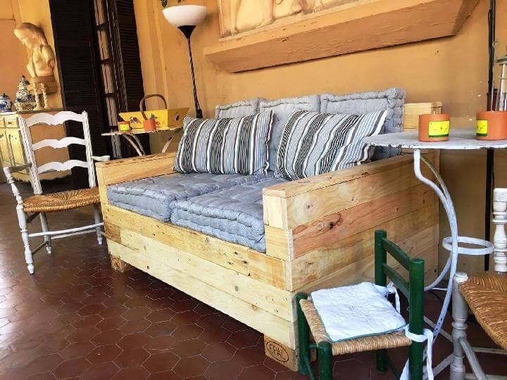 Hand-Built Cushioned Pallet Sofa