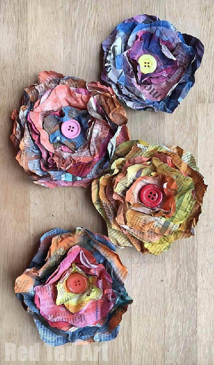 Handcrafted Newspaper Flowers