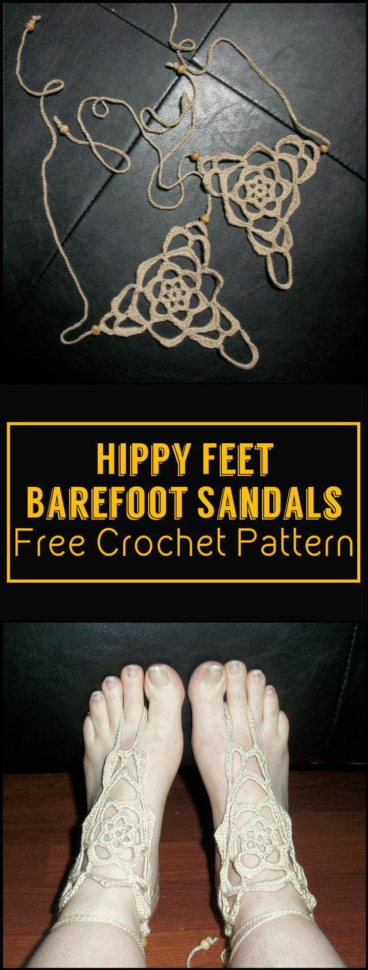 Hippy Feet Barefoot Sandals Free Crochet Pattern