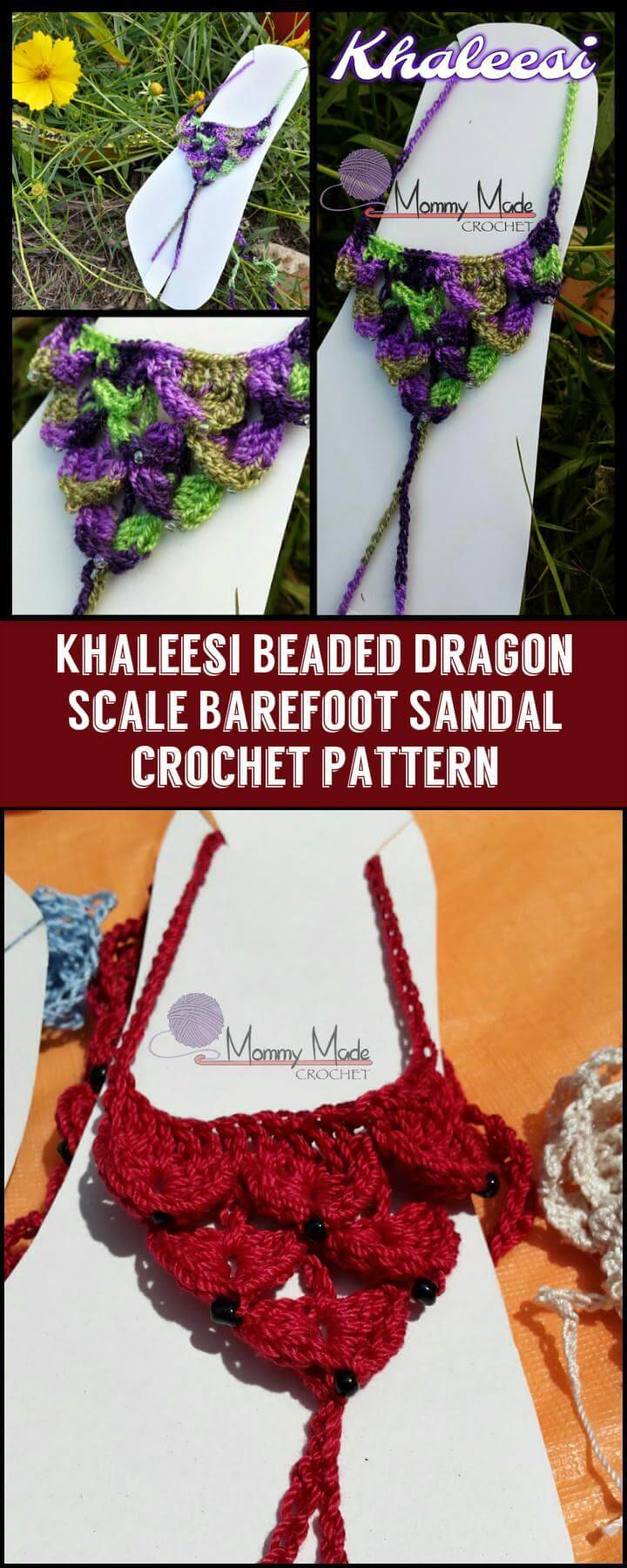 Khaleesi Beaded Dragon Scale Barefoot Sandal crochet pattern