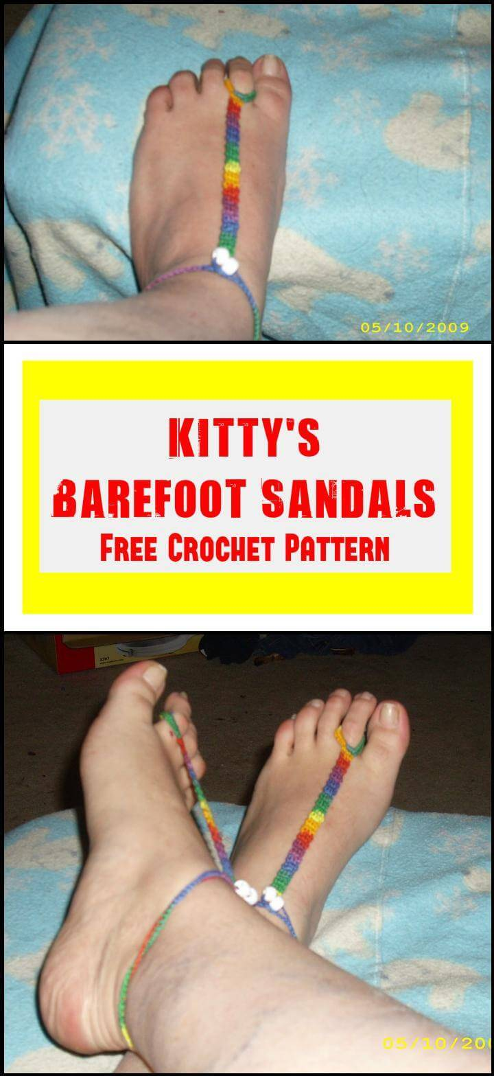 Kitty's Barefoot Sandals Free Crochet Pattern