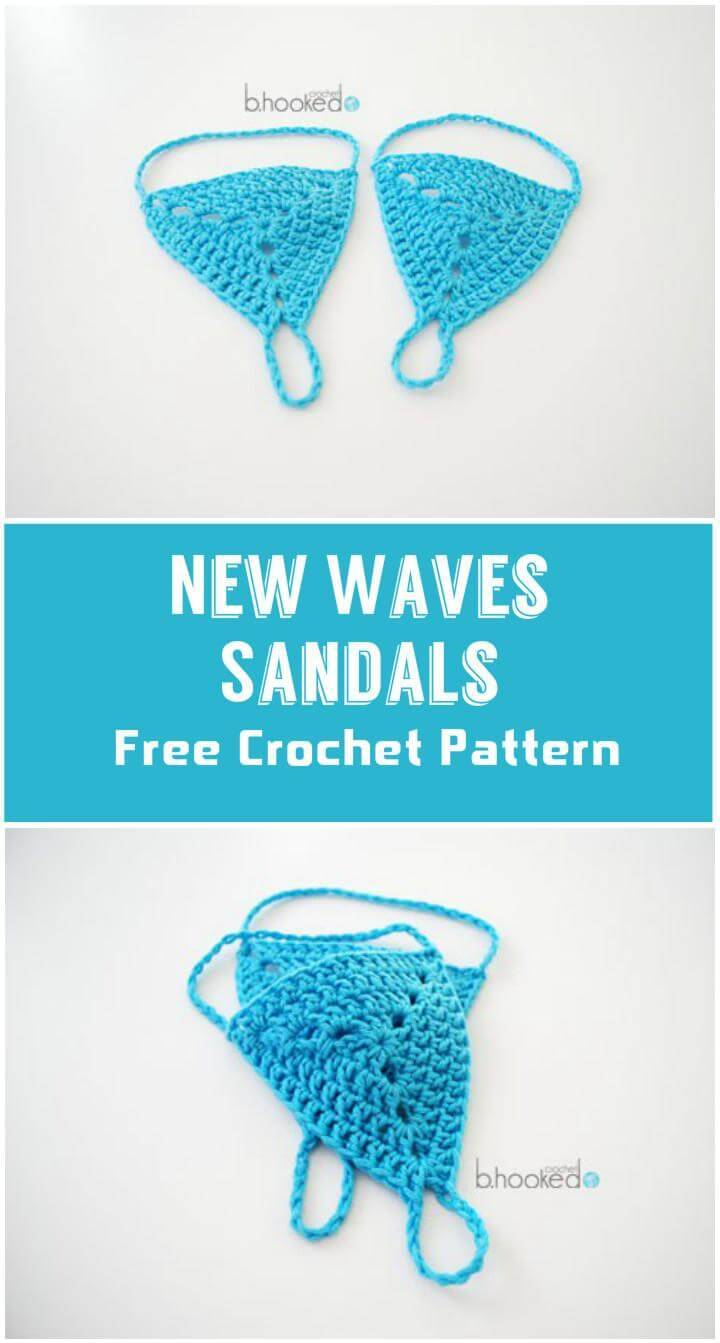New Waves Sandals  Free Crochet Pattern