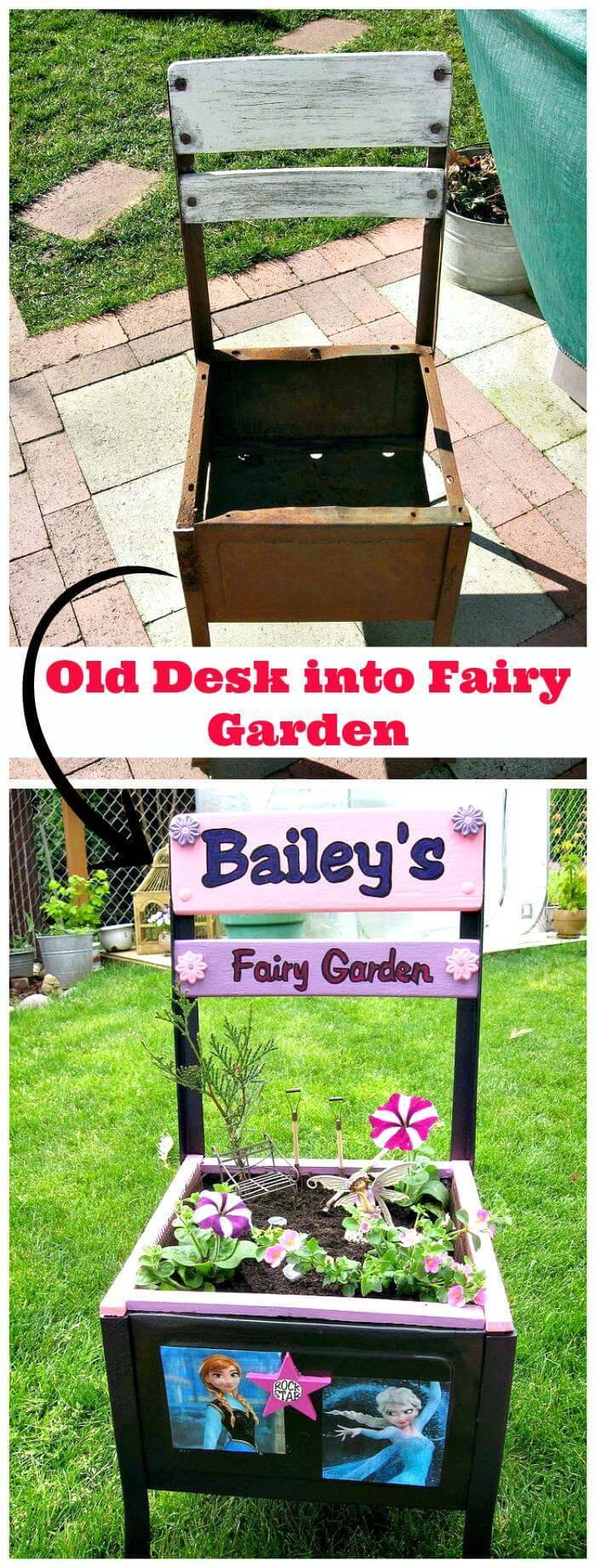 Old Desk into Fairy Garden