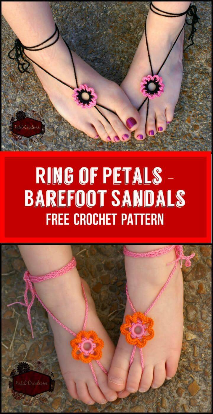 Ring of Petals – Barefoot Sandals Free Crochet Pattern