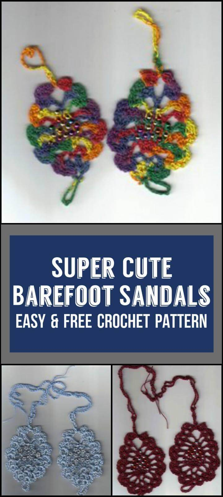 Super Cute  Barefoot Sandals Easy  Free Crochet Pattern