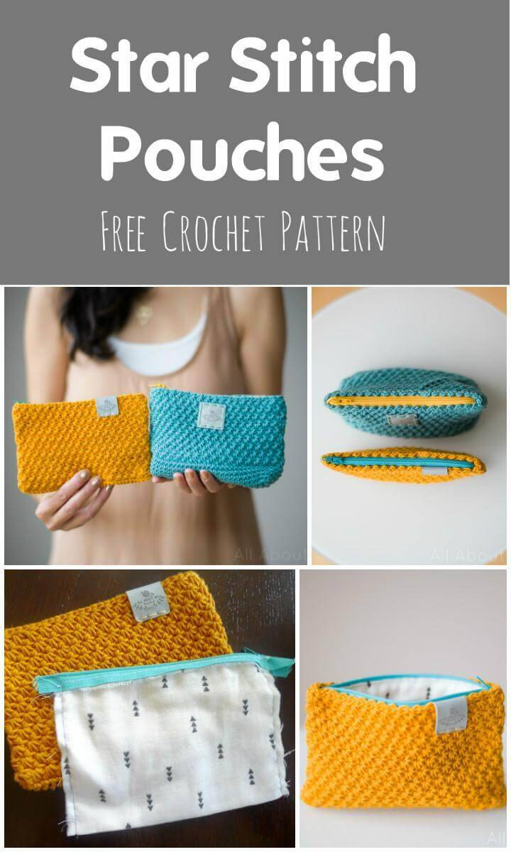 Star Stitch Pouches Free Crochet Pattern