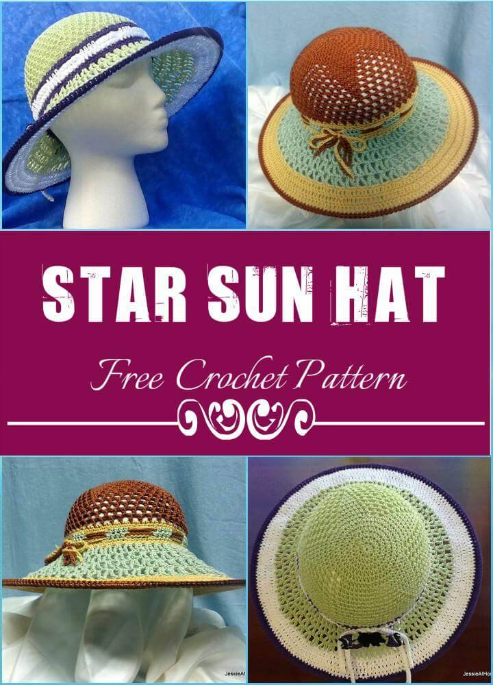 Star Sun Hat Free Crochet Pattern