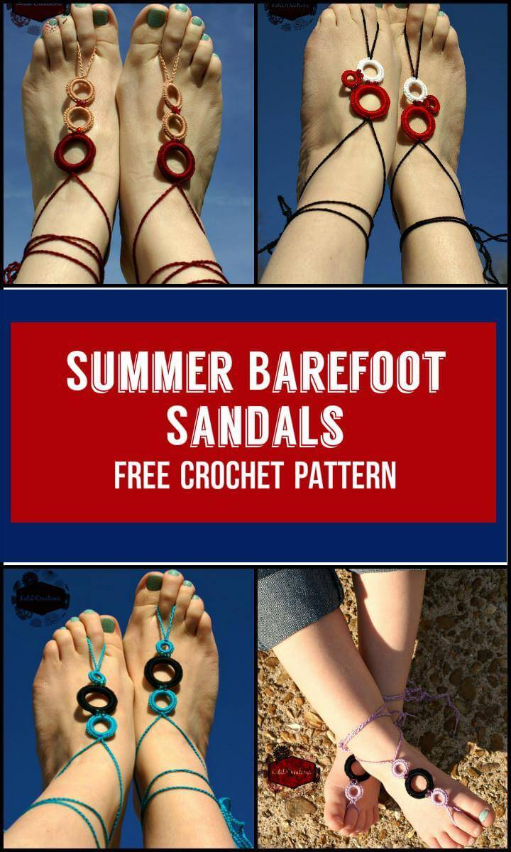 Summer Barefoot Sandals Free Crochet Pattern