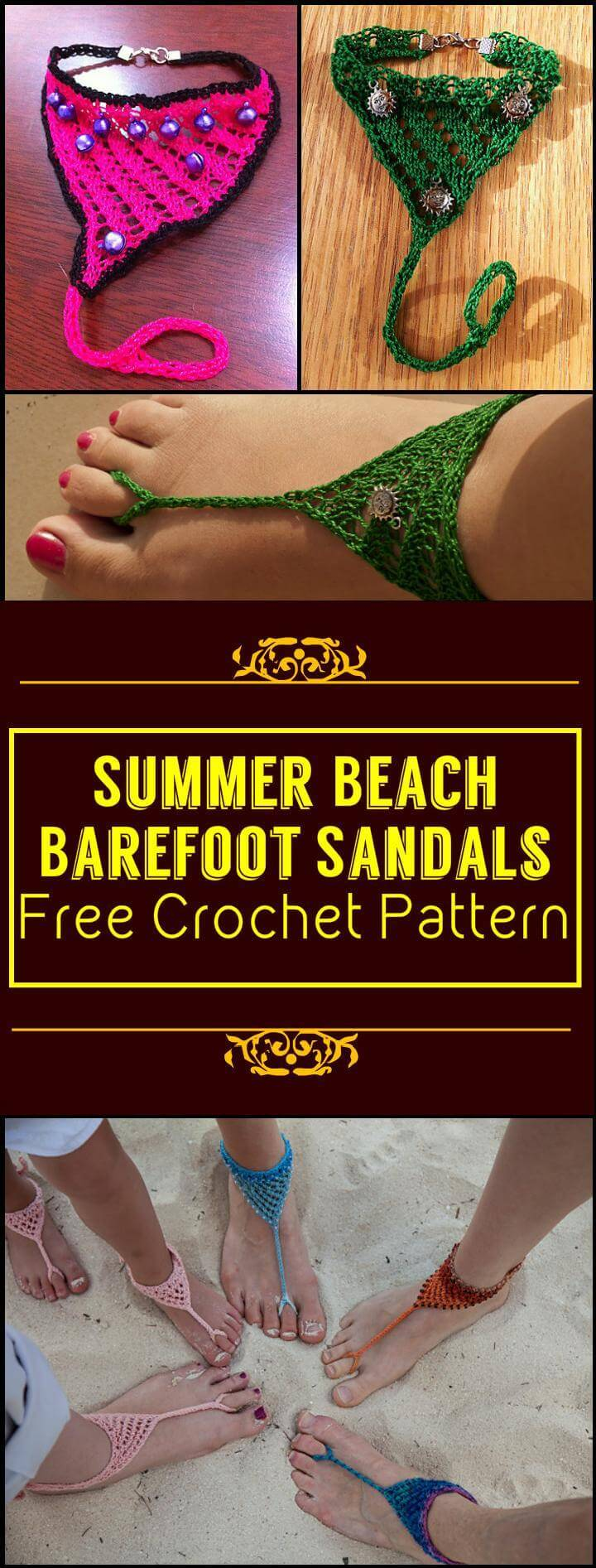 Summer Beach Barefoot Sandals Free Crochet Pattern