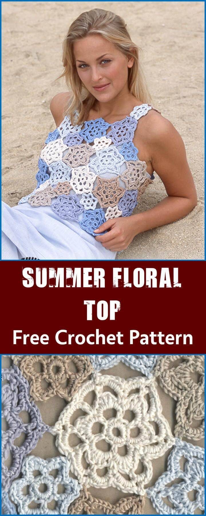 Summer Floral Top Free Crochet Pattern