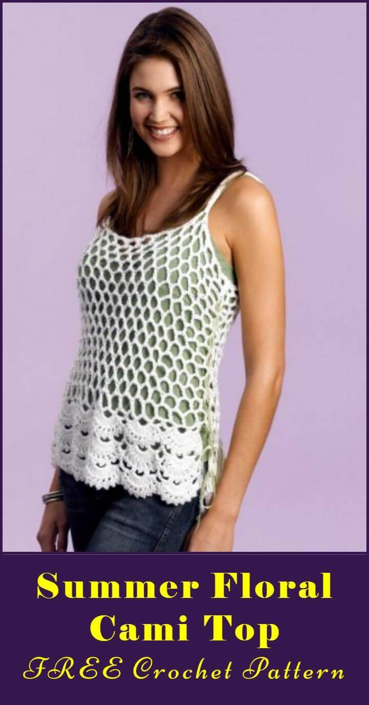 Summer Floral Cami Top FREE Crochet Pattern