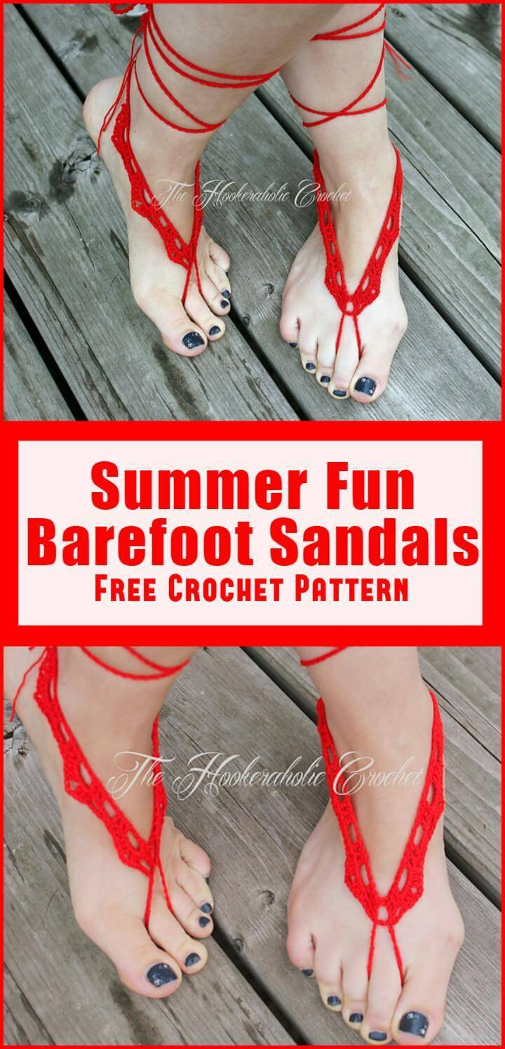 Summer Fun Barefoot Sandals Free Crochet Pattern