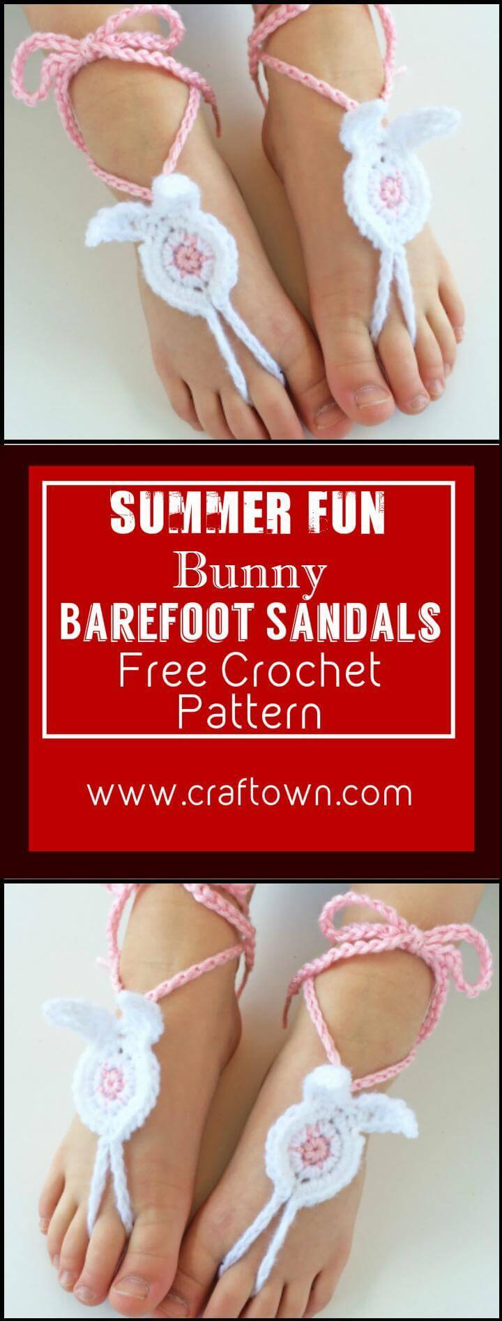 Summer Fun Bunny Barefoot Sandals Free Crochet Pattern