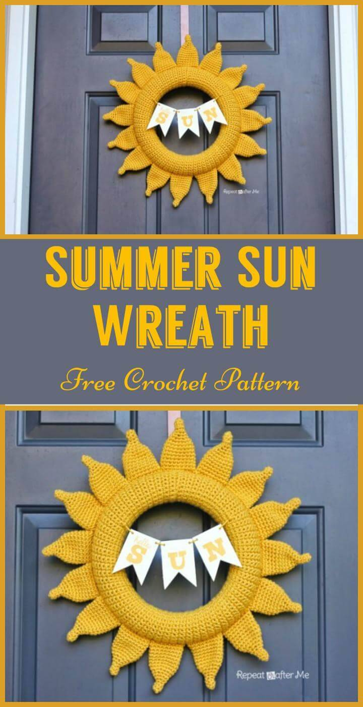 Summer SUn Wreath Free Crochet Pattern