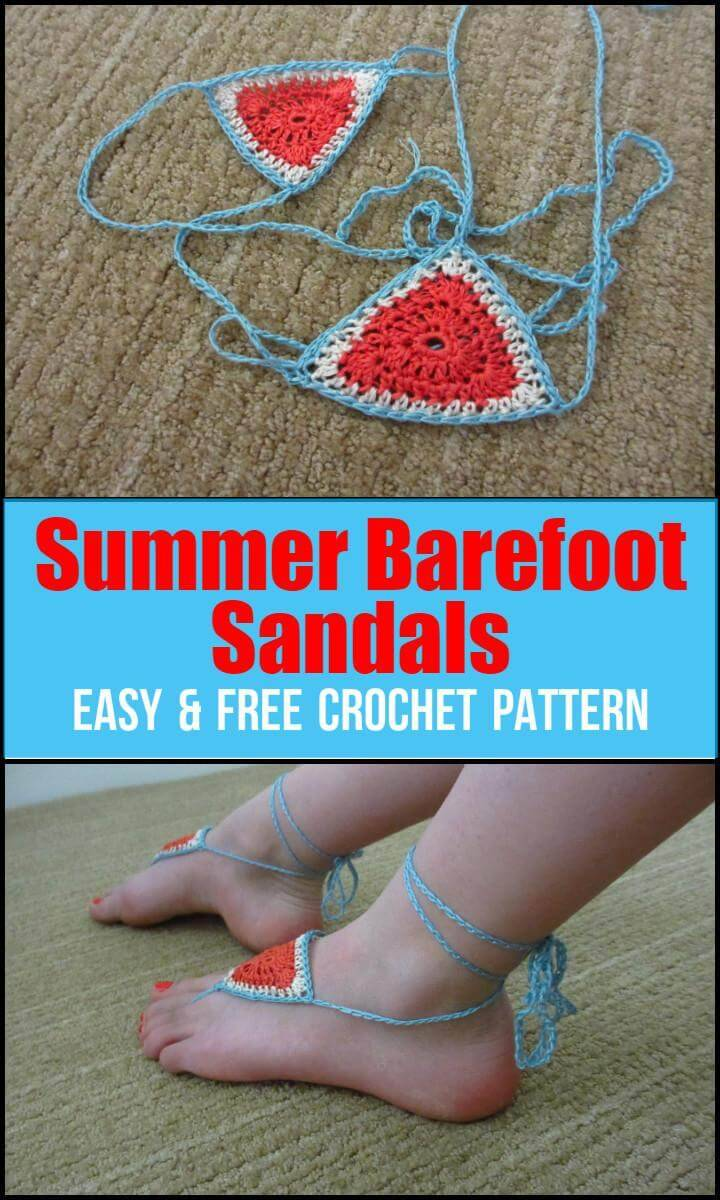 Summer Barefoot Sandals Easy  Free Crochet Pattern