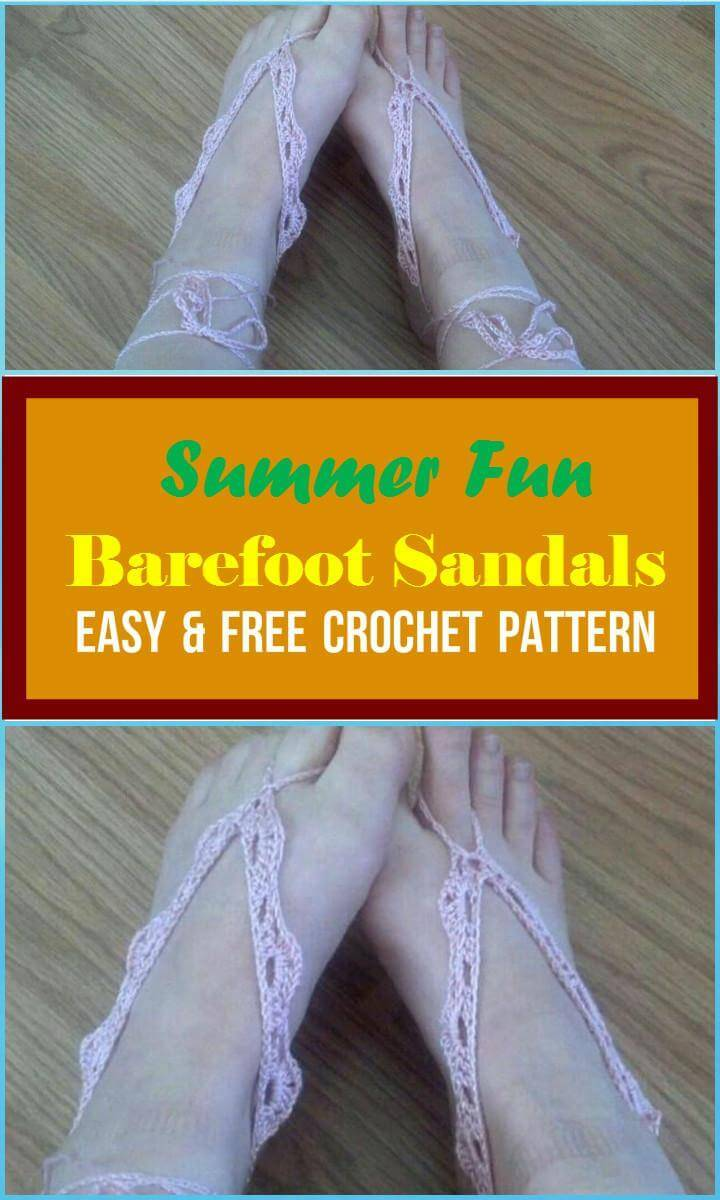 Summer Fun Barefoot Sandals Easy  Free Crochet Pattern