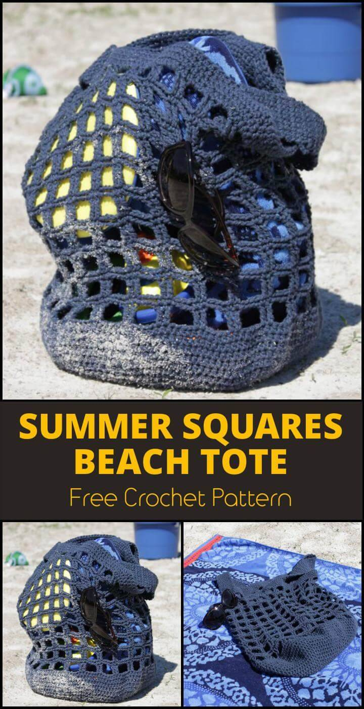Summer Squares Beach Tote Free Crochet Pattern