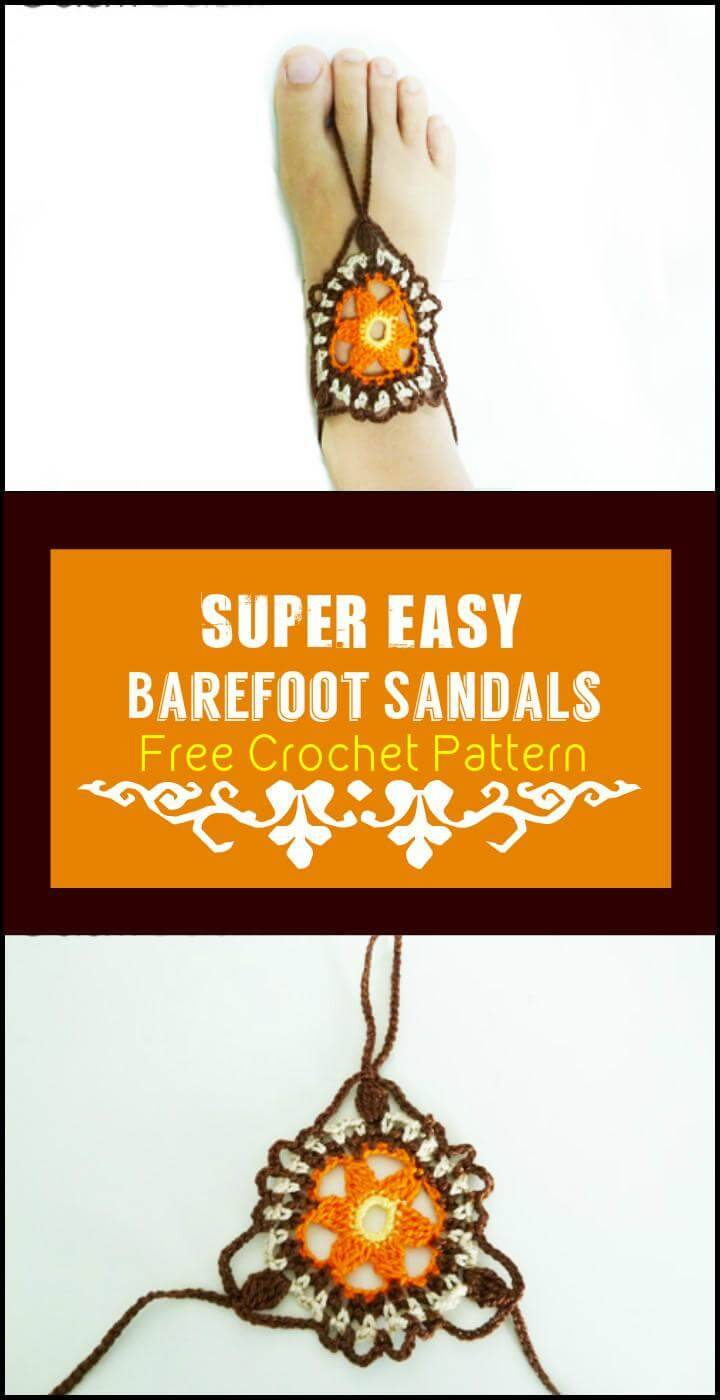 Super Easy Barefoot Sandals Free Crochet Pattern