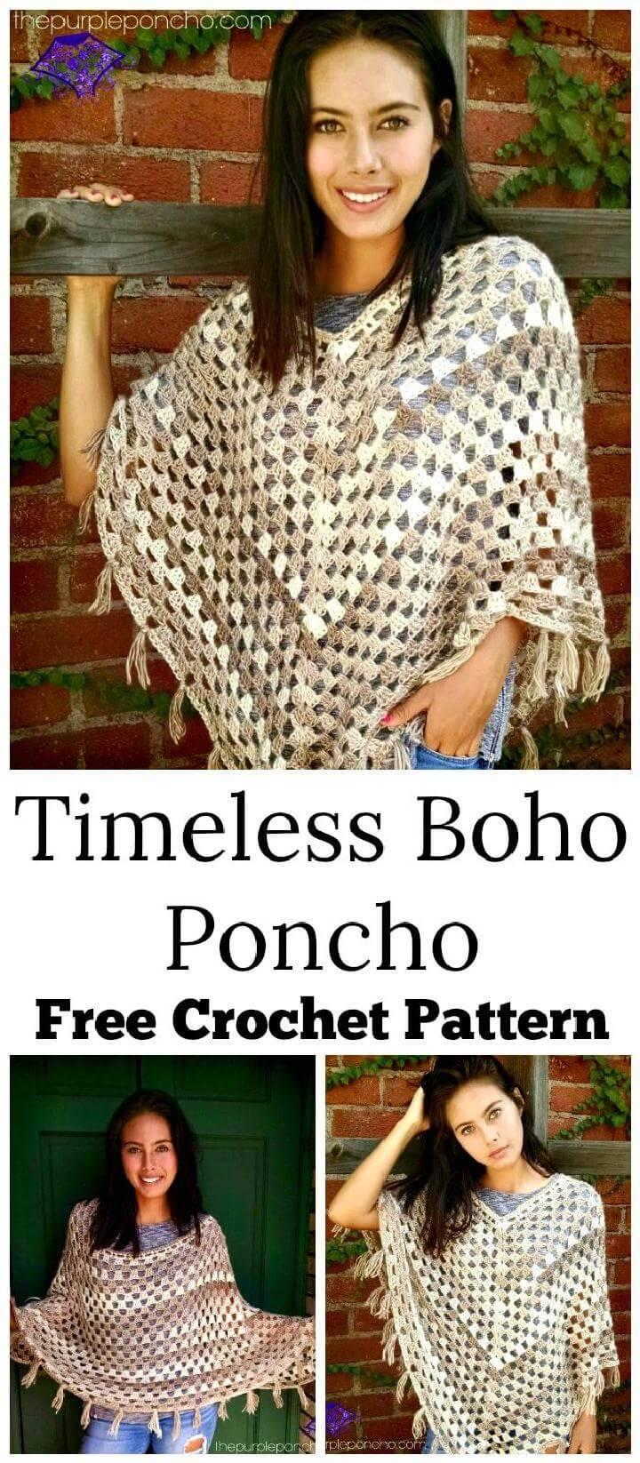 Timeless Boho Poncho – Free Crochet Pattern
