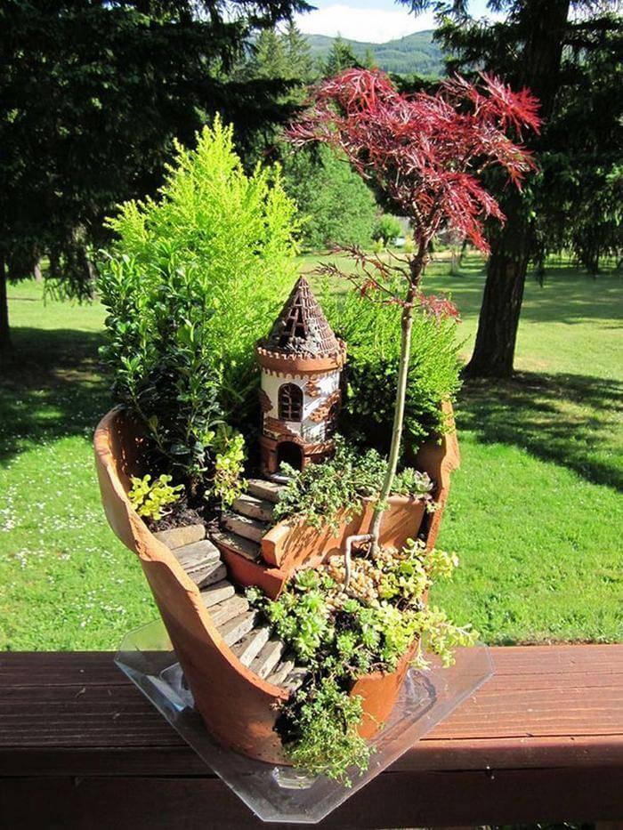 DIY Broken Pot Fairy Garden