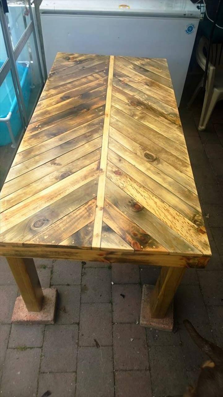 recycled pallet herring bone coffee table