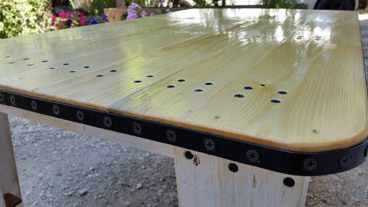 pallet coffee table with metal edging