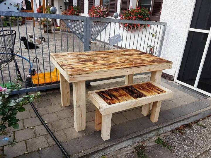 reclaimed pallet dining table with matching stool