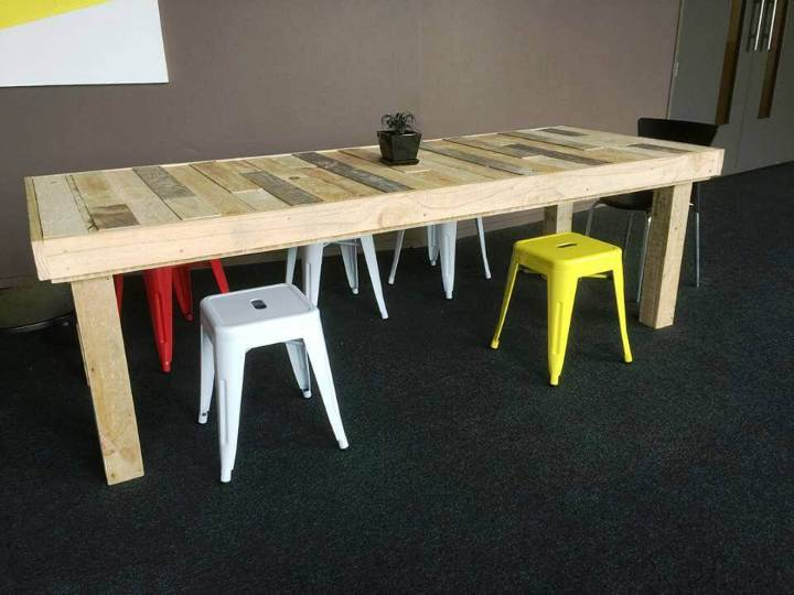 sturdy long wooden pallet dining table for kids