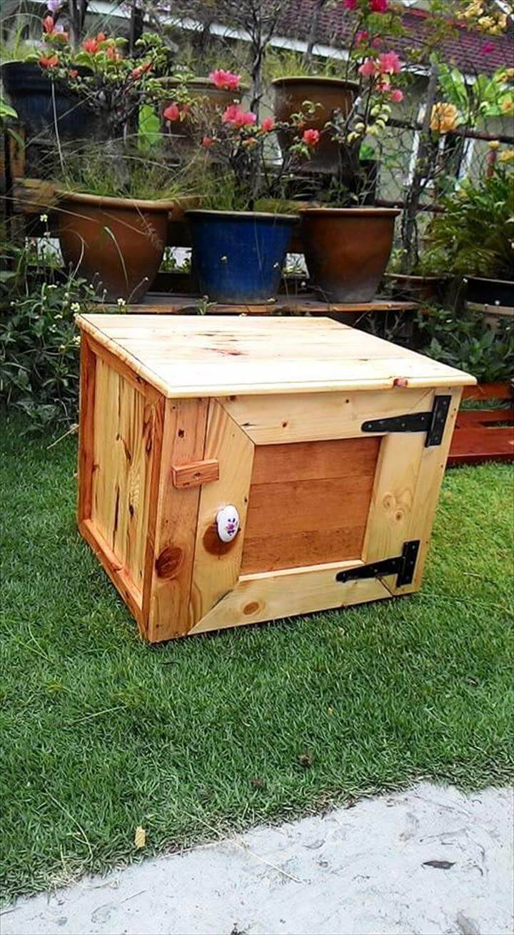 robust wooden pallet storage box