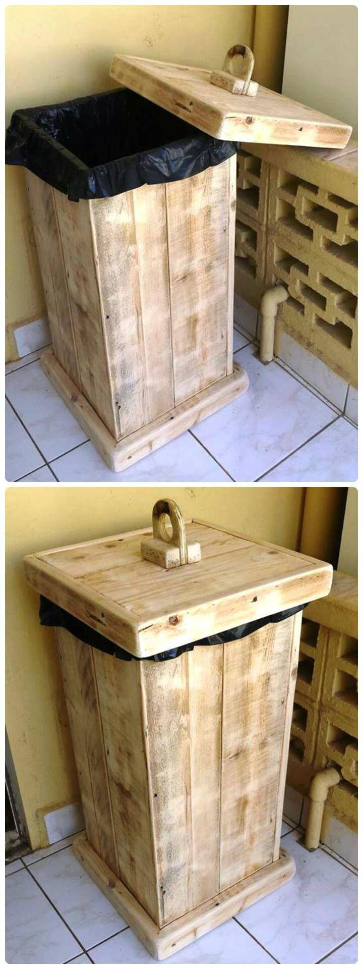 wooden pallet trash or recycle bina