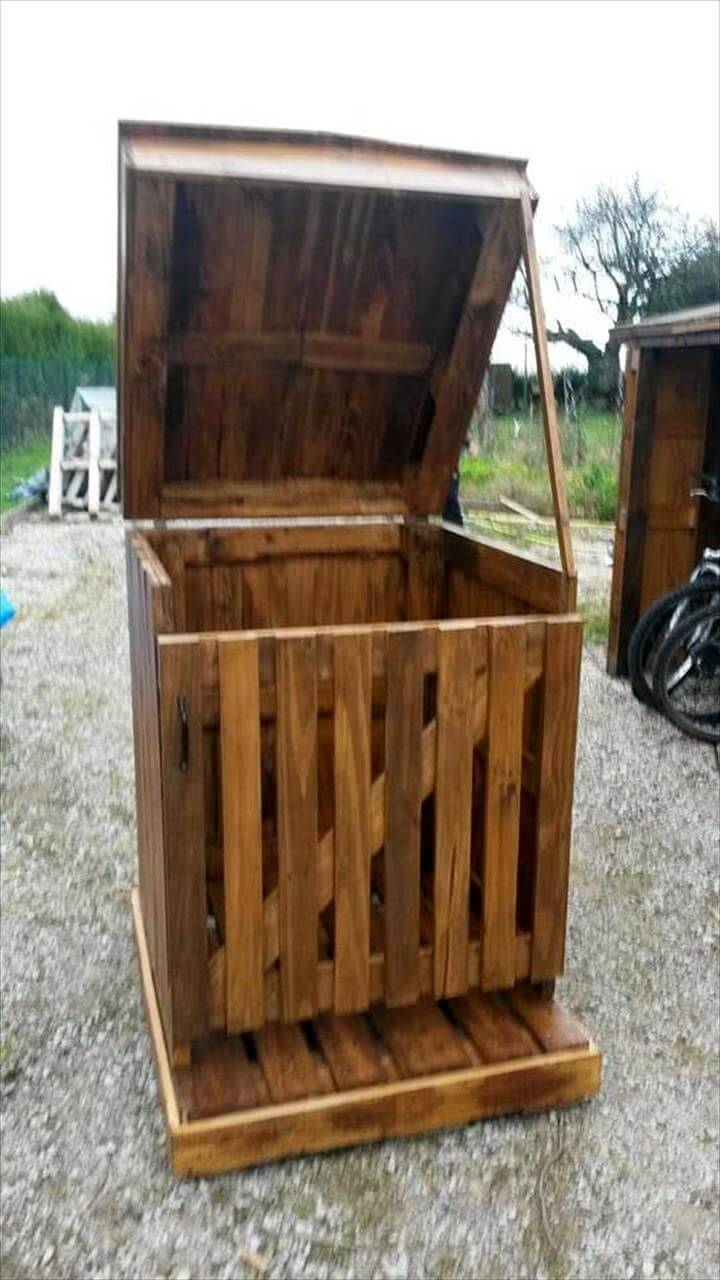 how to build a pallet trash can holder