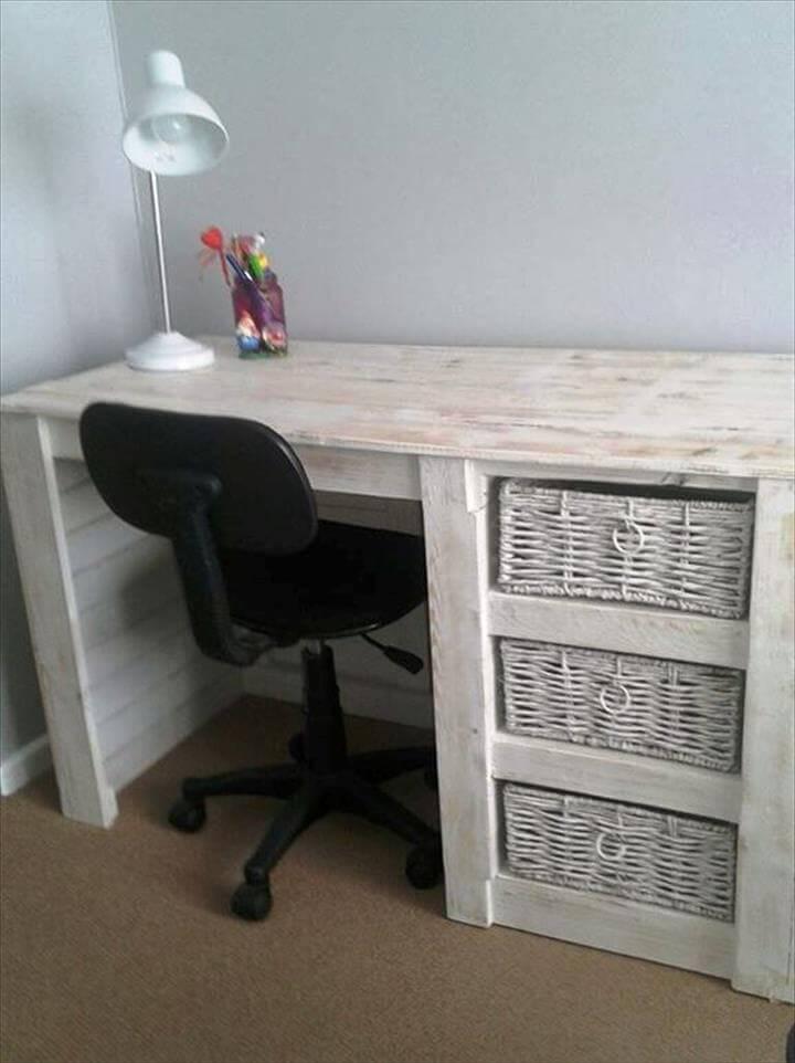 handcrafted wooden pallet desk