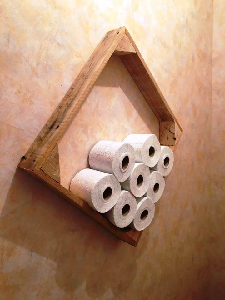 wooden pallet wall hanging toilet paper roll holder