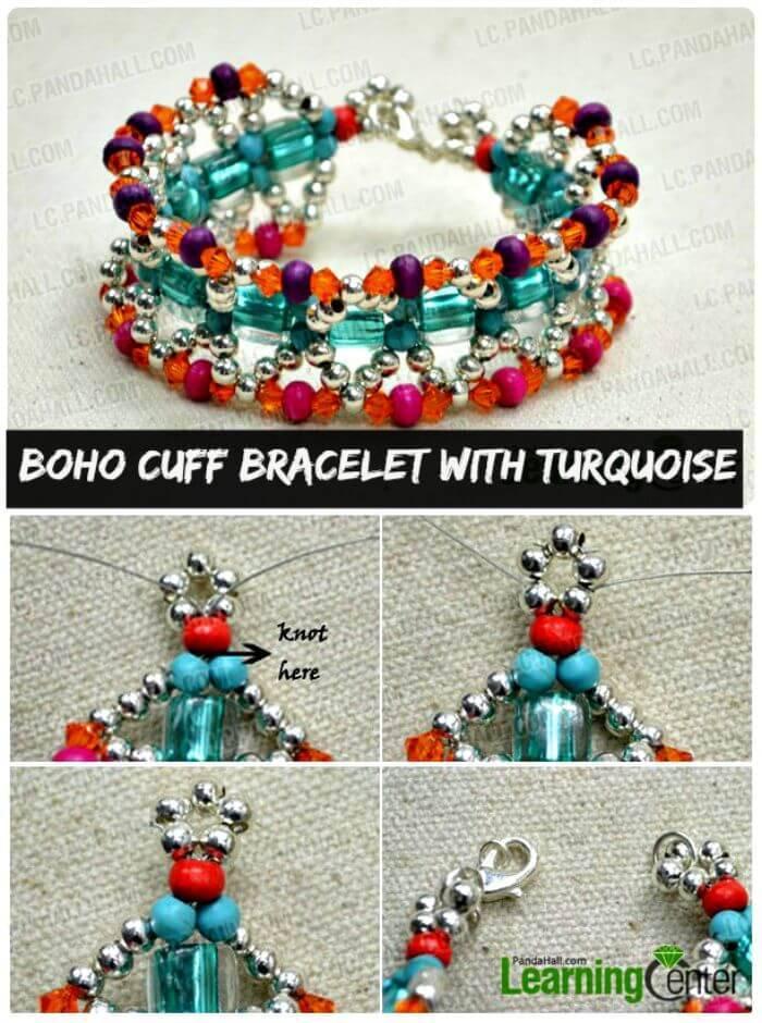 Boho Cuff Bracelet with Turquoise