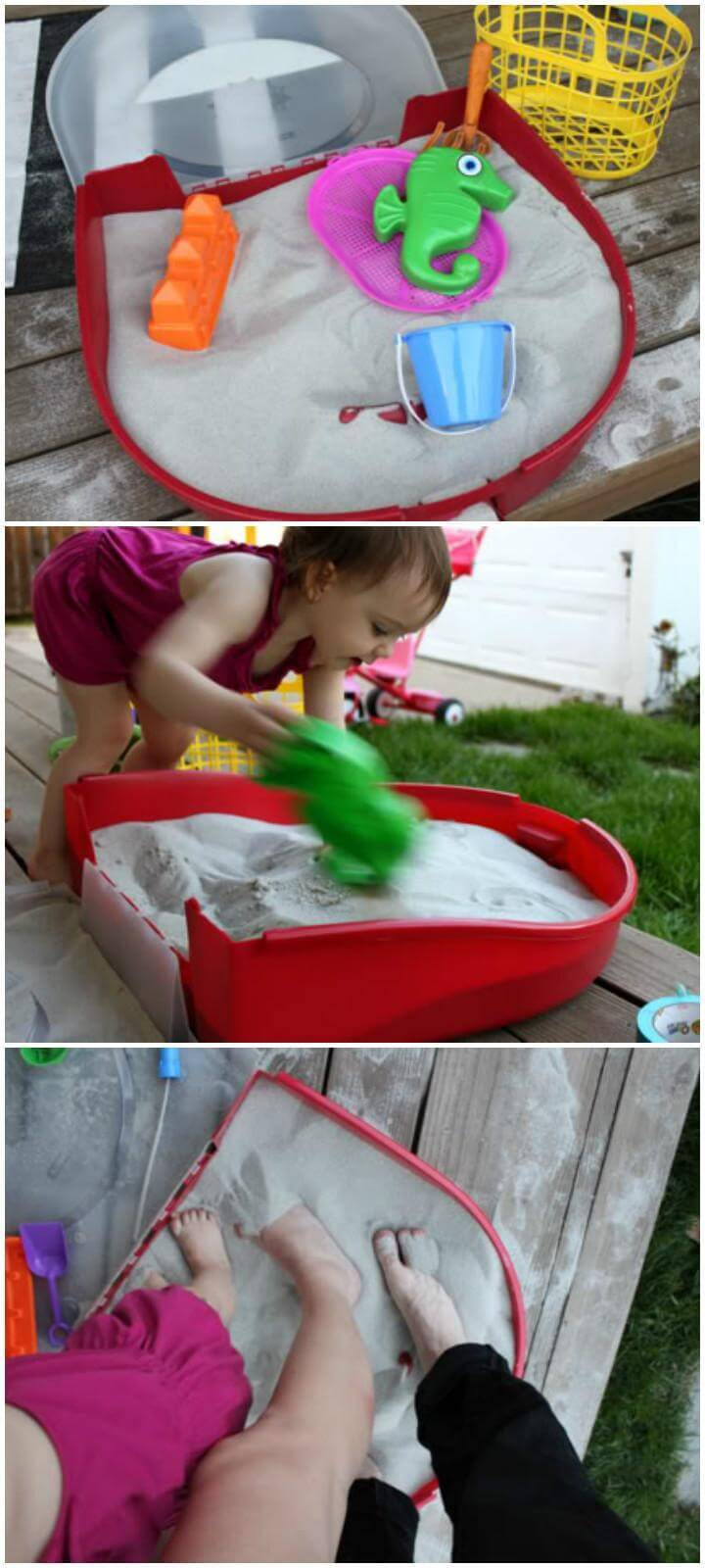DIY 5$ Plastic Wreath Box into Sandbox