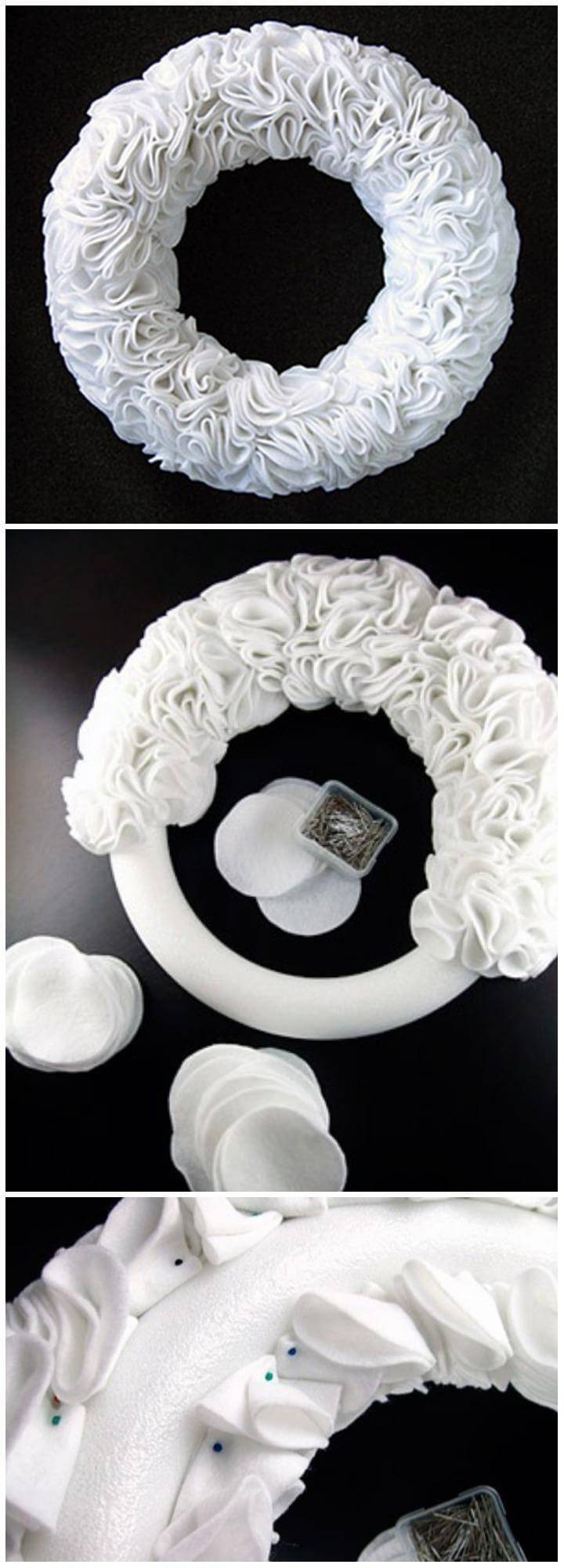 DIY Adorable White Ruffly Felt Wreath