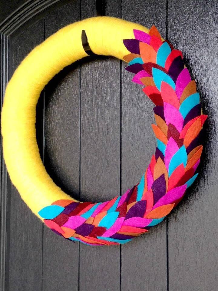 DIY Awesome Bright Fall Yarn Wreath