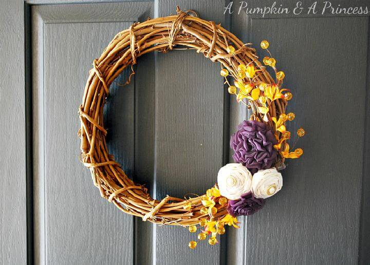 DIY Awesome Purple Mustard Yellow Fall Wreath