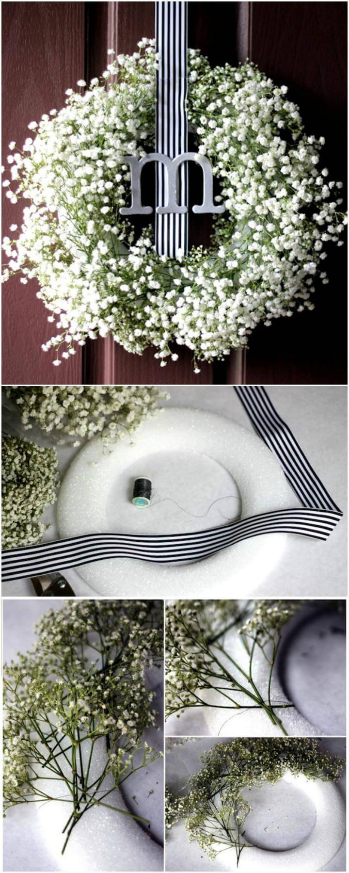 DIY Baby Breath Monogram Wreath