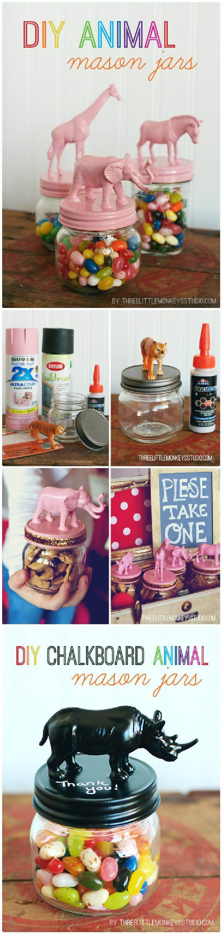 DIY Beautiful Animal Mason Jars